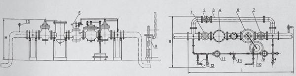 油阀 8.水封安全阀 9.低压辅助调压器 10.压力平衡器 11.